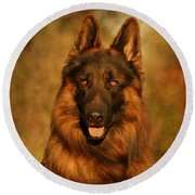 Hoss - German Shepherd Dog Round Beach Towel