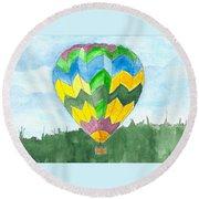 Hot Air Balloon 01 Round Beach Towel