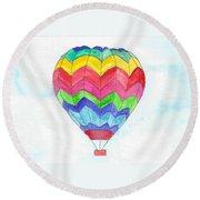 Hot Air Balloon 02 Round Beach Towel