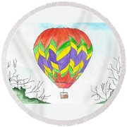 Hot Air Balloon 10 Round Beach Towel