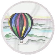 Hot Air Balloon 12 Round Beach Towel