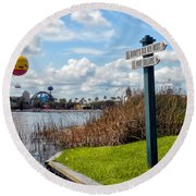 Hot Air Balloon And Old Key West Port Orleans Signage Disney World Round Beach Towel