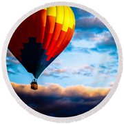 Hot Air Balloon And Powered Parachute Round Beach Towel