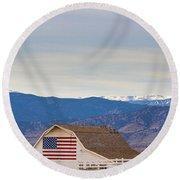 Hot Air Balloon Boulder Flag Barn And Eldora  Round Beach Towel