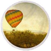 Hot Air Balloon Flight Over The Southwest Desert Fine Art Print  Round Beach Towel