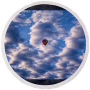 Hot Air Balloon In A Cloudy Sky Abstract Photograph Round Beach Towel