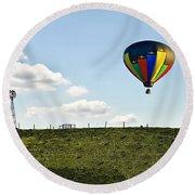 Hot Air Balloon In The Farmlands Round Beach Towel