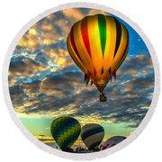 Hot Air Balloon Lift Off Round Beach Towel