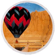 Hot Air Balloon Over Thebes Temple Round Beach Towel
