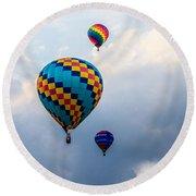 Hot Air Balloon Trio Round Beach Towel