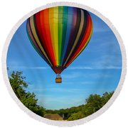 Hot Air Balloon Woodstock Vermont Round Beach Towel