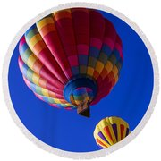 Hot Air Ballooning Together Round Beach Towel