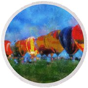 Hot Air Balloons Photo Art 01 Round Beach Towel