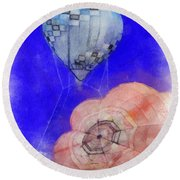 Hot Air Balloons Photo Art 03 Round Beach Towel