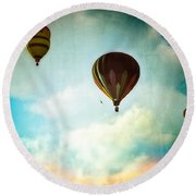 Hot Air Baloons In Blazing Sky Round Beach Towel
