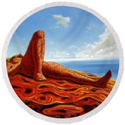 Hot As The Sun Round Beach Towel