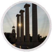 Hot Barcelona Afternoon - Magnificent Columns And Brilliant Sun Flares Round Beach Towel
