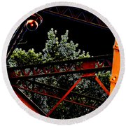Hot Bridge At Night Round Beach Towel