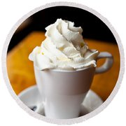 Hot Chocolate With Creme Chantilly Round Beach Towel