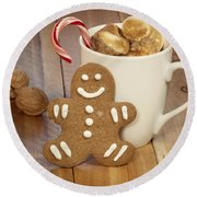 Hot Cocoa And Gingerbread Cookie Round Beach Towel by Juli Scalzi