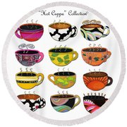 Hot Cuppa Whimsical Colorful Coffee Cup Designs By Romi Round Beach Towel