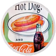 Hot Dog And A Coke Round Beach Towel