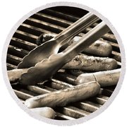 Hot Dogs On The Grill Round Beach Towel