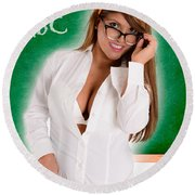 Hot For Teacher Round Beach Towel
