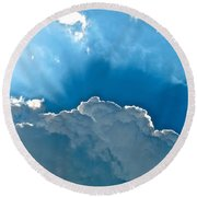 Hot Italian Clouds Round Beach Towel