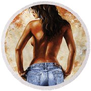 Hot Jeans 02 Blue Round Beach Towel