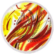 Hot Lines Twist Abstract Round Beach Towel