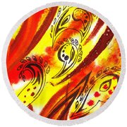 Hot Moving Lines And Dots Abstract Round Beach Towel