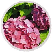 Hot Pink Hydrangea Round Beach Towel