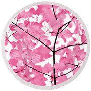 Hot Pink Leaves Melody Round Beach Towel