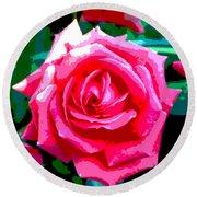 Hot Pink Rose Round Beach Towel
