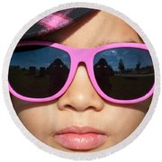 Hot Pink Sunglasses Round Beach Towel