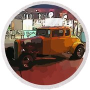 Hot Rod Icon Round Beach Towel
