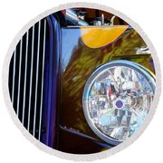 Hot Rod Show Car Light Round Beach Towel