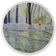 Hot Spring Bluebell Jogger Round Beach Towel