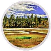 Prismatic Geyser Yellowstone National Park Round Beach Towel