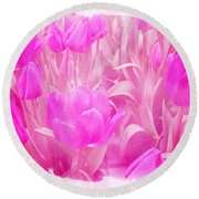 Hot Stuff   In Your Face Pink Tulips Round Beach Towel