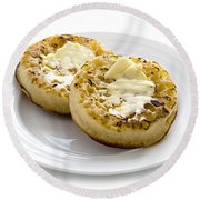 Hot Toasted Crumpets With Butter Round Beach Towel