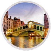Hot Venetian Nights Round Beach Towel