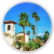 Hotel California Palm Springs Round Beach Towel