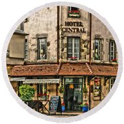 Hotel Central In Beaune France Round Beach Towel