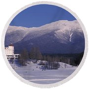 Hotel Near Snow Covered Mountains, Mt Round Beach Towel