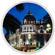 Hotel Negresco Round Beach Towel by Inge Johnsson