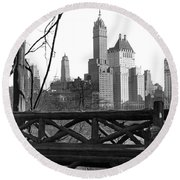 Hotels Seen From Central Park  Round Beach Towel