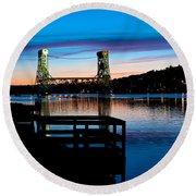 Houghton Bridge Sunset Round Beach Towel