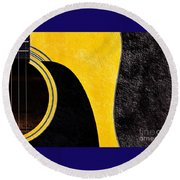Hour Glass Guitar 4 Colors 1 - Tetraptych - Yellow Corner - Music - Abstract Round Beach Towel
